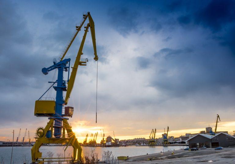 crane, port, sunset