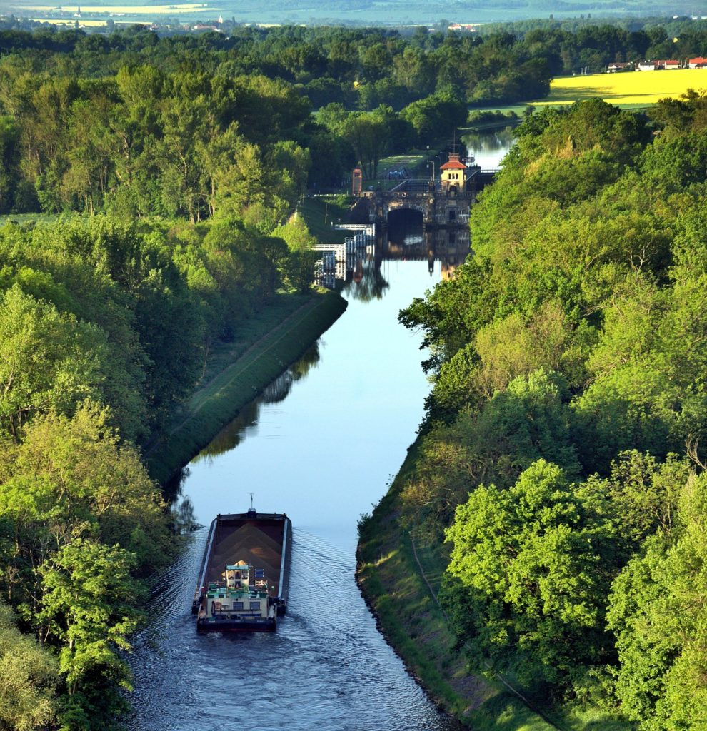 the barge, transport, river transport